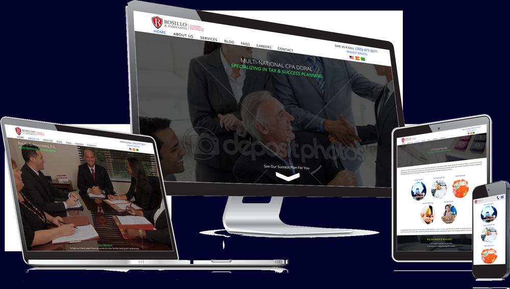 website in desktop, laptop, tablet and mobile