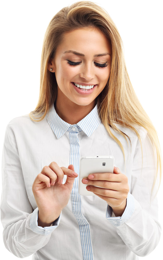 Lady on mobile phone using an app