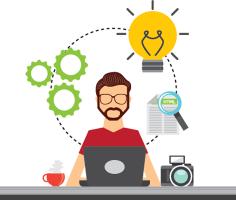man at desk brainstorming with lightbulb