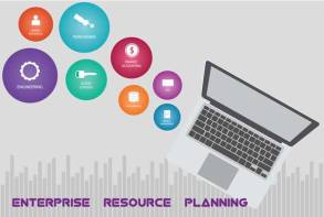 laptop with erp icons floating out of screen written on bottom Enterprise Resource planning