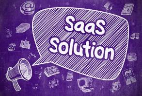 image of a bullhorn with a thought bubble that says SaaS Solution