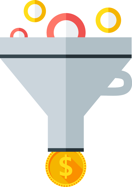 funnel with circles coming in and coins going out the bottom