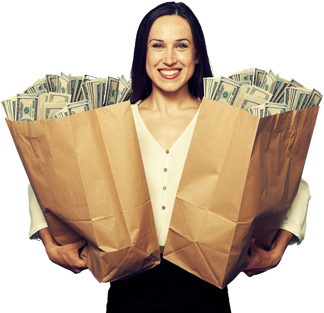 Woman holding to grocery bags full of money