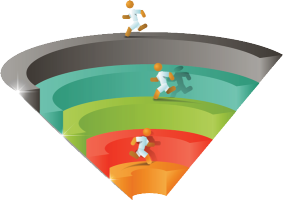 funnel with levels people running on 3 of 5 levels