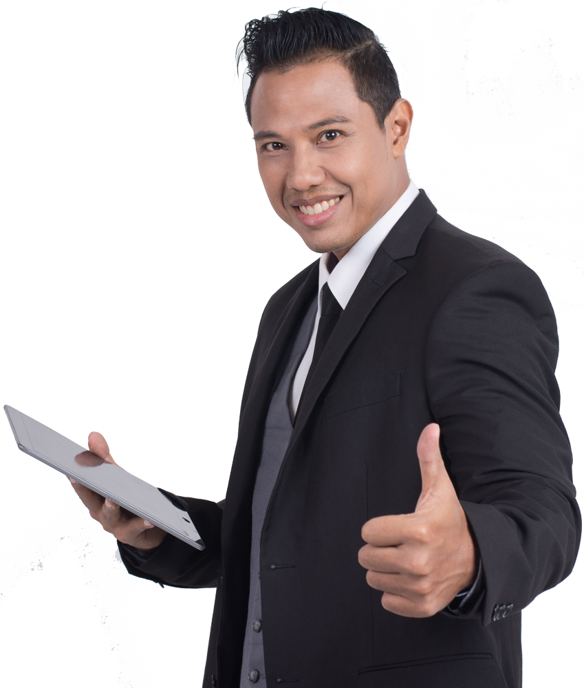 man in suit holding tablet with hand out thumbs up
