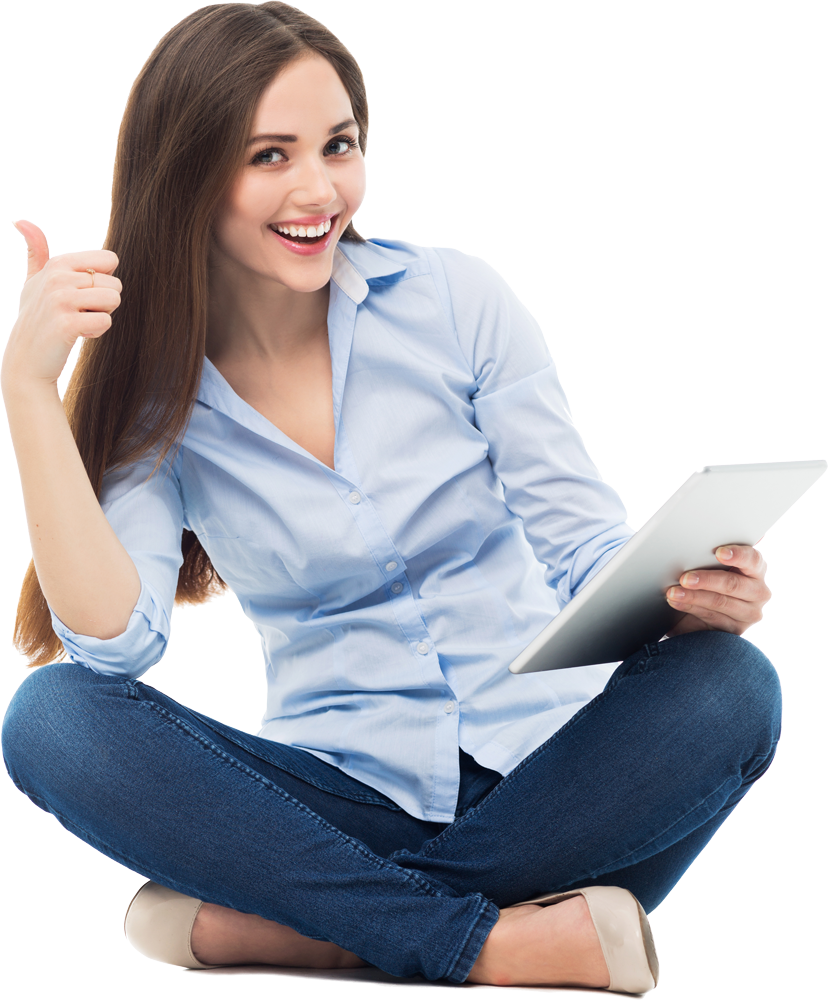 woman sitting indian style tablet in one hand, other hand thumbs up